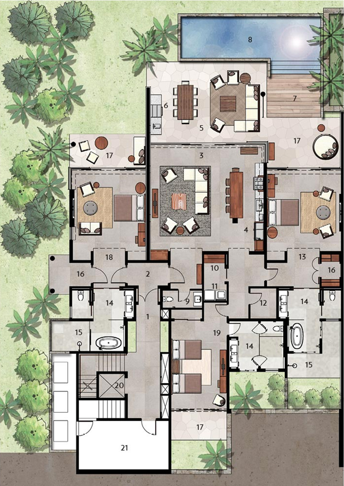 Luxury villas floor plans modern house for Villa architecture design plans